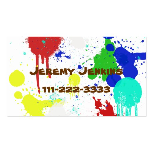 Paint Splashes Children's calling card Business Card Templates