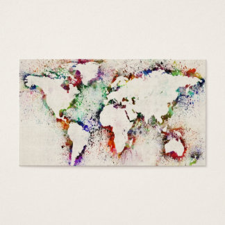 Paint Splashes Text Map of the World Business Card