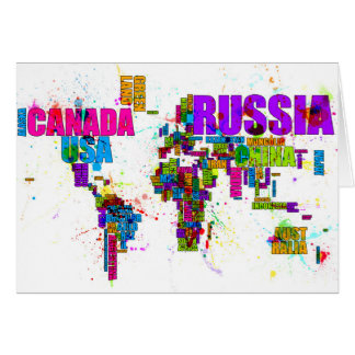 Paint Splashes Text Map of the World Card