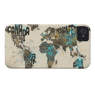 Paint Splashes Text Map of the World iPhone 4 Case-Mate Cases