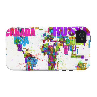 Paint Splashes Text Map of the World Vibe iPhone 4 Case
