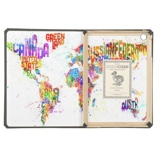 Paint Splashes Text Map of the World iPad Air Covers