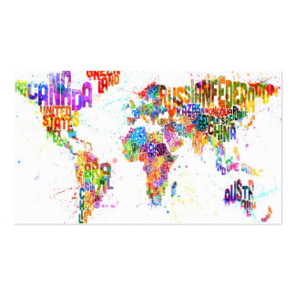 Paint Splashes Text Map of the World Double-Sided Standard Business Cards (Pack Of 100)