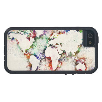 Paint Splashes Text Map of the World iPhone SE/5/5s Case