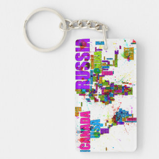 Paint Splashes Text Map of the World Keychain