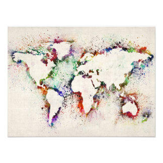 Paint Splashes Text Map of the World Photo Print