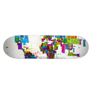 Paint Splashes Text Map of the World Skate Boards