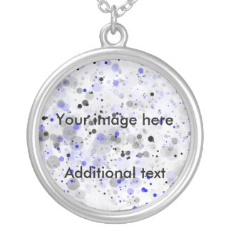 paint splashes, Your image here, Additional text Round Pendant Necklace