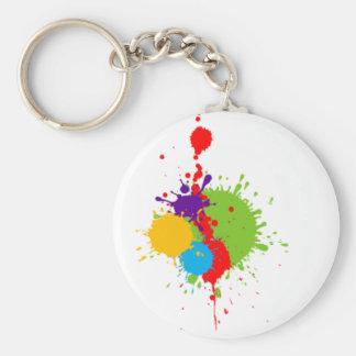 paint-splat basic round button keychain