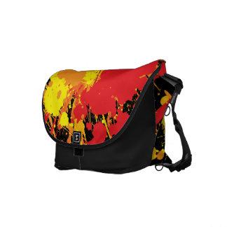 Paint Splat Fire on black background Courier Bag