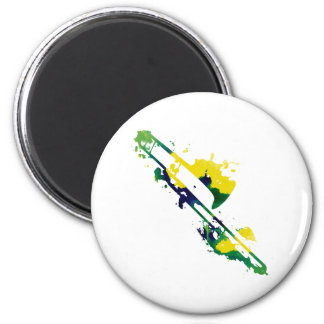 Paint Splat Trombone 2 Inch Round Magnet