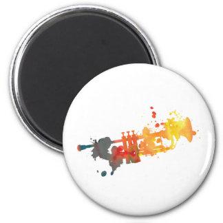 Paint Splat Trumpet 2 Inch Round Magnet