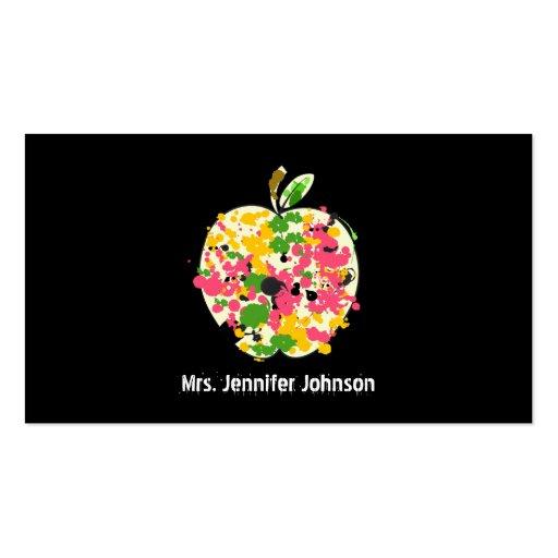 Paint Splatter Apple Teacher Business Card