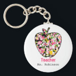 "Paint Splatter Apple Teacher Keychain<br><div class=""desc"">A keychain for teachers featuring an illustration of a paint splatter apple. Personalize with your name.</div>"