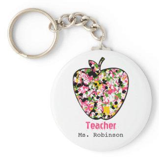 Paint Splatter Apple Teacher Keychain