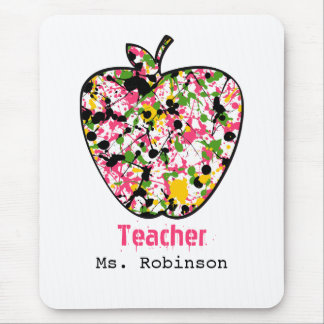 Paint Splatter Apple Teacher Mousepad