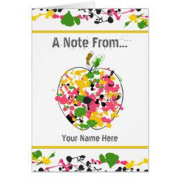 Paint Splatter Apple Teacher Notecard