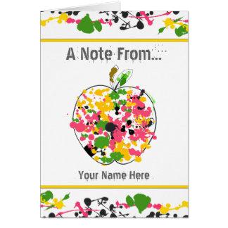 Paint Splatter Apple Teacher Notecard Stationery Note Card