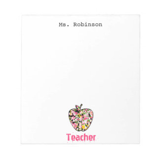 Paint Splatter Apple Teacher Notepad