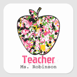 Paint Splatter Apple Teacher Stickers