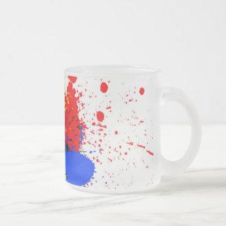 Paint Splatter Art Black Blue Red Yellow Frosted Glass Coffee Mug