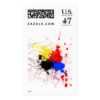 Paint Splatter Art Black Blue Red Yellow Postage