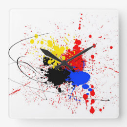 Paint Splatter Art Black Blue Red Yellow Square Wall Clock