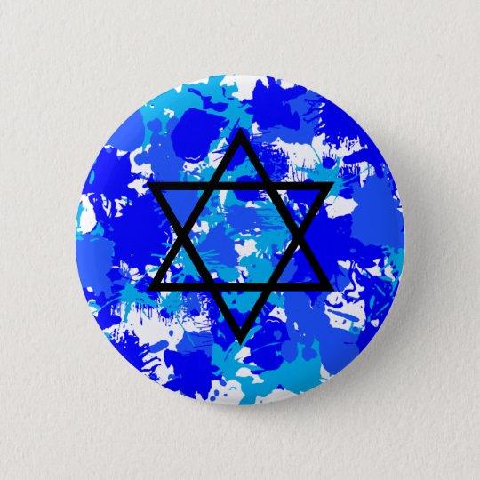 Paint Splatter Blue Jewish Star Button