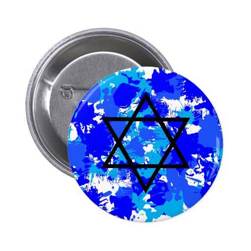 Paint Splatter Blue Jewish Star Buttons