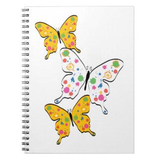 Paint Splatter Butterflies Spiral Note Books