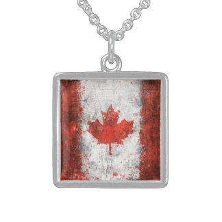 Paint Splatter Canadian Flag Sterling Silver Necklace
