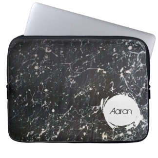 Paint Splatter Custom Name | Charcoal and White Laptop Computer Sleeve
