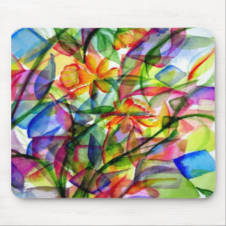 Paint Splatter Flowers Mouse Pad