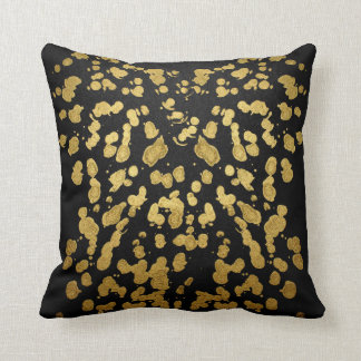 Paint Splatter in Faux Gold and Black Throw Pillows