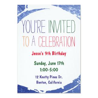 Paint Splatter Invite | Kids Blue Pool Party