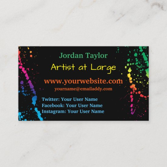 [Paint Splatter] Modern Abstract Artist Black Business Card