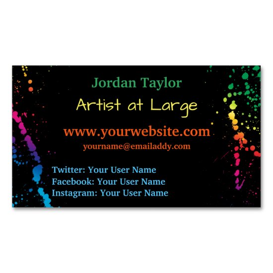 [Paint Splatter] Modern Abstract Artist Black Business Card Magnet