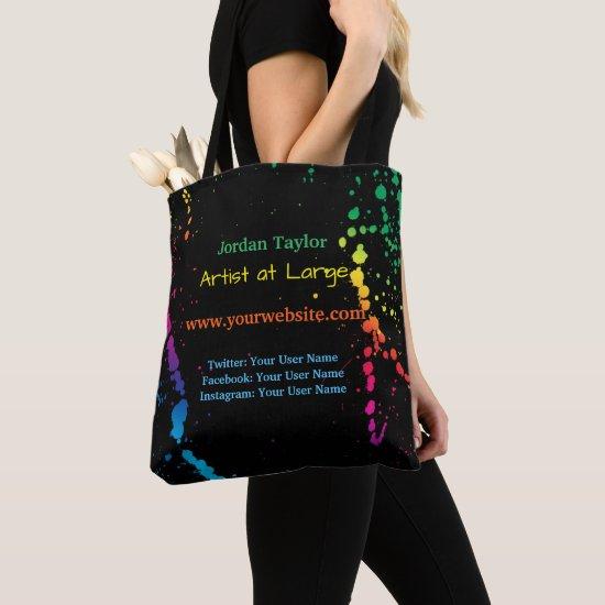 [Paint Splatter] Modern Abstract Artist Black Tote Bag