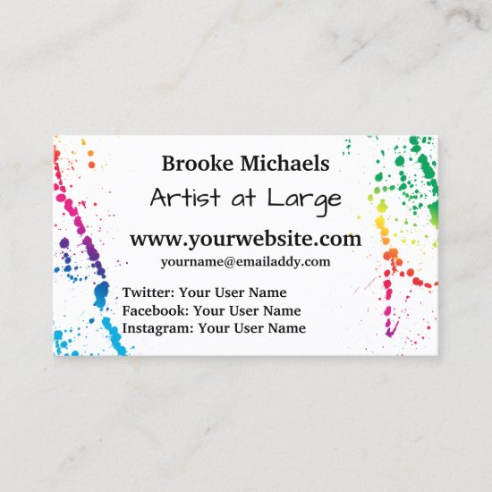 [Paint Splatter] Modern Abstract Artist White Business Card