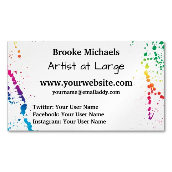[Paint Splatter] Modern Abstract Artist White Business Card Magnet