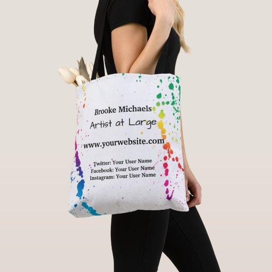 [Paint Splatter] Modern Abstract Artist White Tote Bag