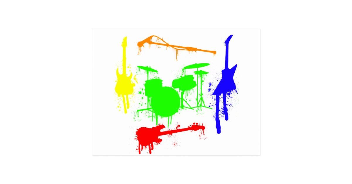 Paint Splatter Musical Instruments Band Graffiti Postcard
