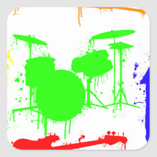 Paint Splatter Musical instruments Band Graffiti Square Sticker