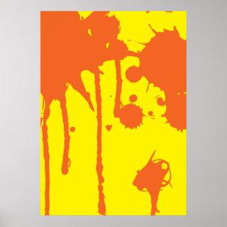 Paint Splatter Orange Poster