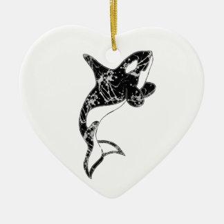 Paint Splatter Orca Art Ceramic Ornament