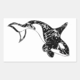 Paint Splatter Orca Art Rectangular Sticker