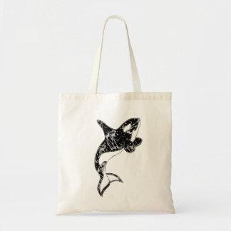 Paint Splatter Orca Art Tote Bag