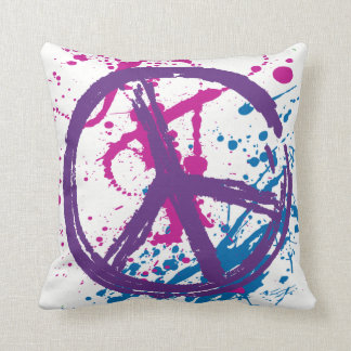Paint Splatter Peace Sign Throw Pillow