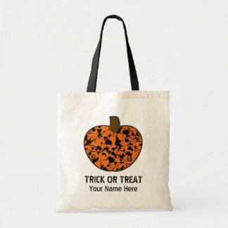 Paint Splatter Pumpkin Trick Or Treat Halloween Budget Tote Bag
