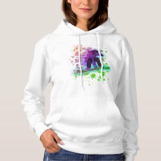 Paint splatter rainbow snowboarder womens hoodie
